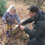 Copthorne Pre-prep Forest Schools Sawing Carefully