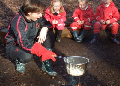 Copthorne Prep School Pre-prep Year 1 Cooking Popcorn at Forest Schools - Spring Term 2017