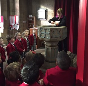 Copthorne Prep School Pre-prep Year 1 visit to St. Swithun's Church - The Font - Spring Term 2017